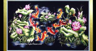 tranh thêu cá chép hoa sen cửu ngư quần hội