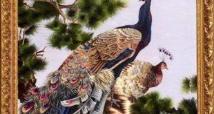 tranh thêu chim công