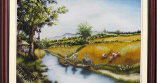 tranh thêu phong cảnh quê hương