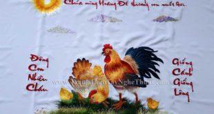 tranh thêu gia đình gà